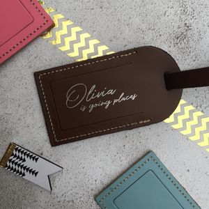 Leather 'Going Places' Luggage Tag - frequent traveller