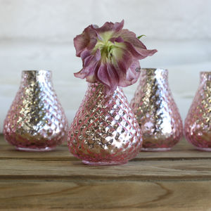 Mercury Pink Bud Vases – Set Of Five - flowers, plants & vases