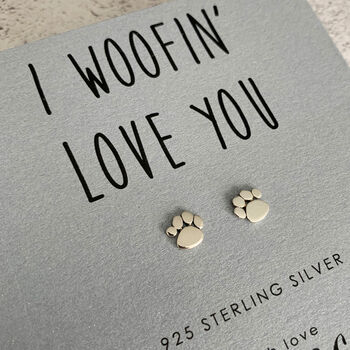 Dog Paw Sterling Silver Earrings