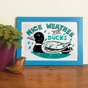 Nice Weather For Ducks Funny Linocut Print