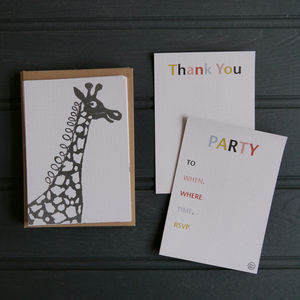 A6 Giraffe Party Invitations And Thank You Postcards
