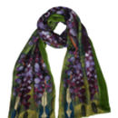 Silk And Velvet Scarf In Green Heart Print