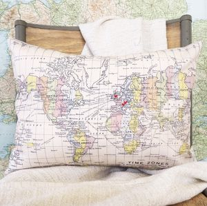 Map Of The World Personalised Cushion - frequent traveller