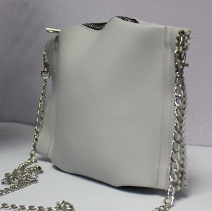 Small Vegan Shoulder Bag With Silver Chain