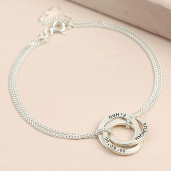 Personalised Sterling Silver Russian Ring Bracelet