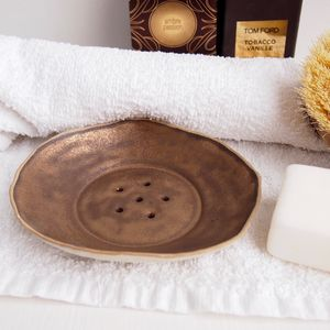 Handmade White And Gold Textural Ceramic Soap Dish - soap dishes & dispensers
