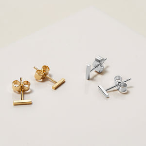 Sterling Silver Mini Bar Stud Earrings - earrings