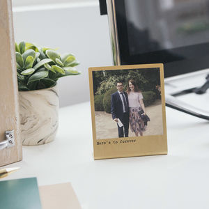 Personalised Solid Brass Photo Print - 50th anniversary: gold