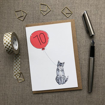 Personalised 70th Birthday Card Cat Design