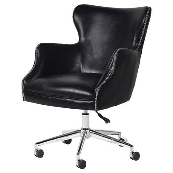 Black Aged Leather Office Chair On Castors