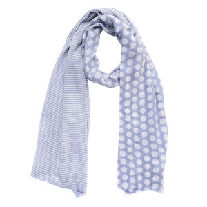 Polka Dot Blue Wool Scarf