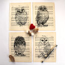 Owl Screen Print On Vintage Sheet Music