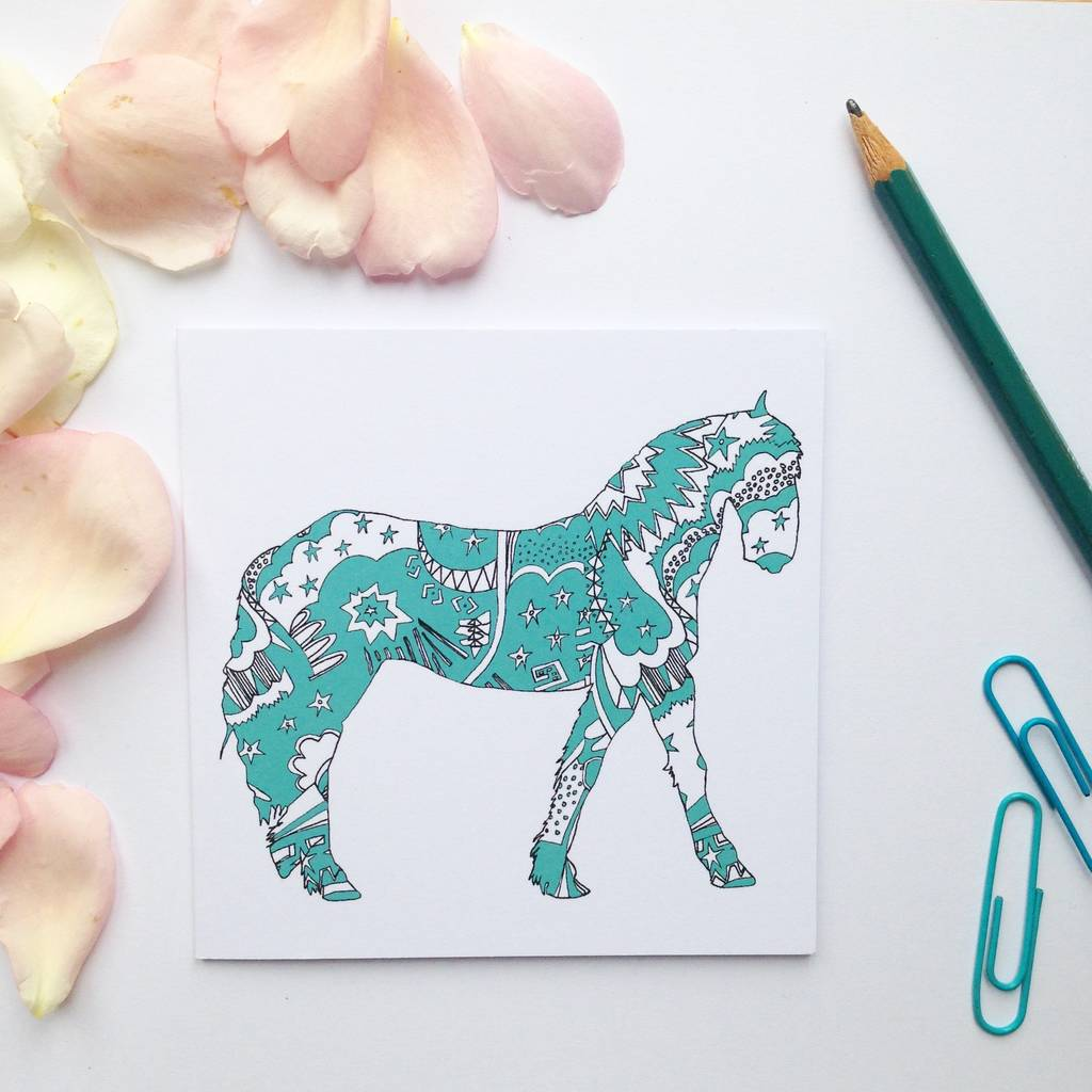 Teal Pattern Horse Card