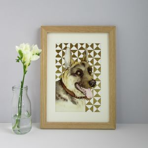 Personalised Geometric Metallic Background Pet Portrait