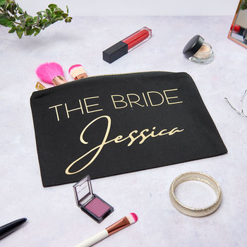 Personalised The Bride Make Up Bag