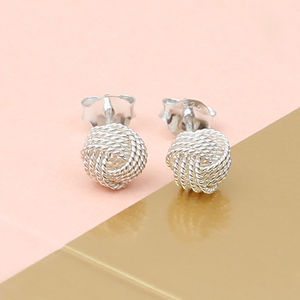 Sterling Silver Textured Love Knot Earrings - earrings