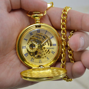 Gold Personalised Pocket Watch With Roman Numerals - winter sale