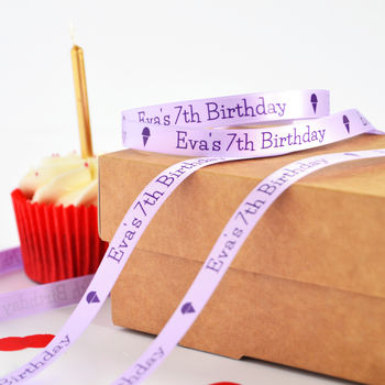Lilac 10mm personalised birthday ribbon with purple print