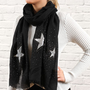 Limited Edition Black Sequin Star Scarf