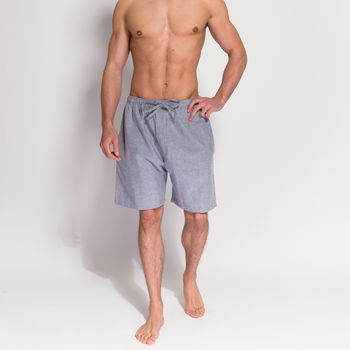 Men's Ash Grey Herringbone Flannel Pyjama Shorts