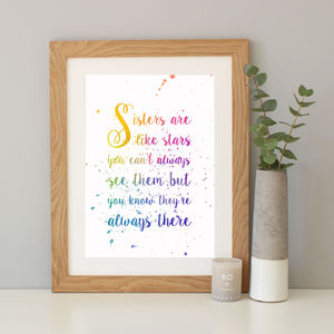 'Sisters Are Like Stars' Gradient Quote Print