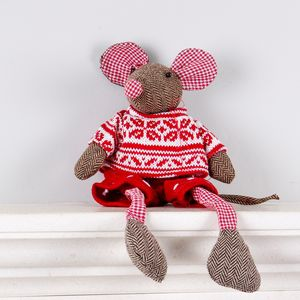 Tweed Christmas Mouse Soft Toy - baby toys