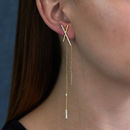 Asymmetric Statement Bar Earrings Gold