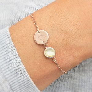 Personalised Initial Disc November Birthstone Bracelet