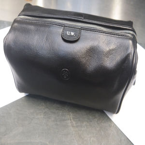 Personalised Leather Wash Bag For Men 'Duno M' - bathroom