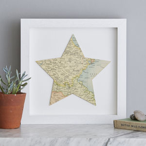 Map Location Star Print Gift 28cm