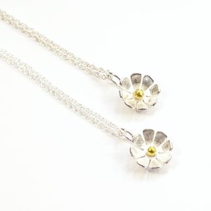 Silver And Gold Daisy Flower Medium Pendant