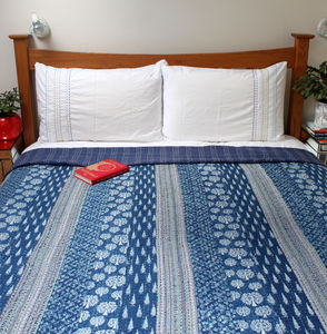 Indigo Fields Patchwork Kantha Bedspread - bedding & accessories