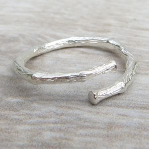 Adjustable Sterling Silver Textured Twig Ring