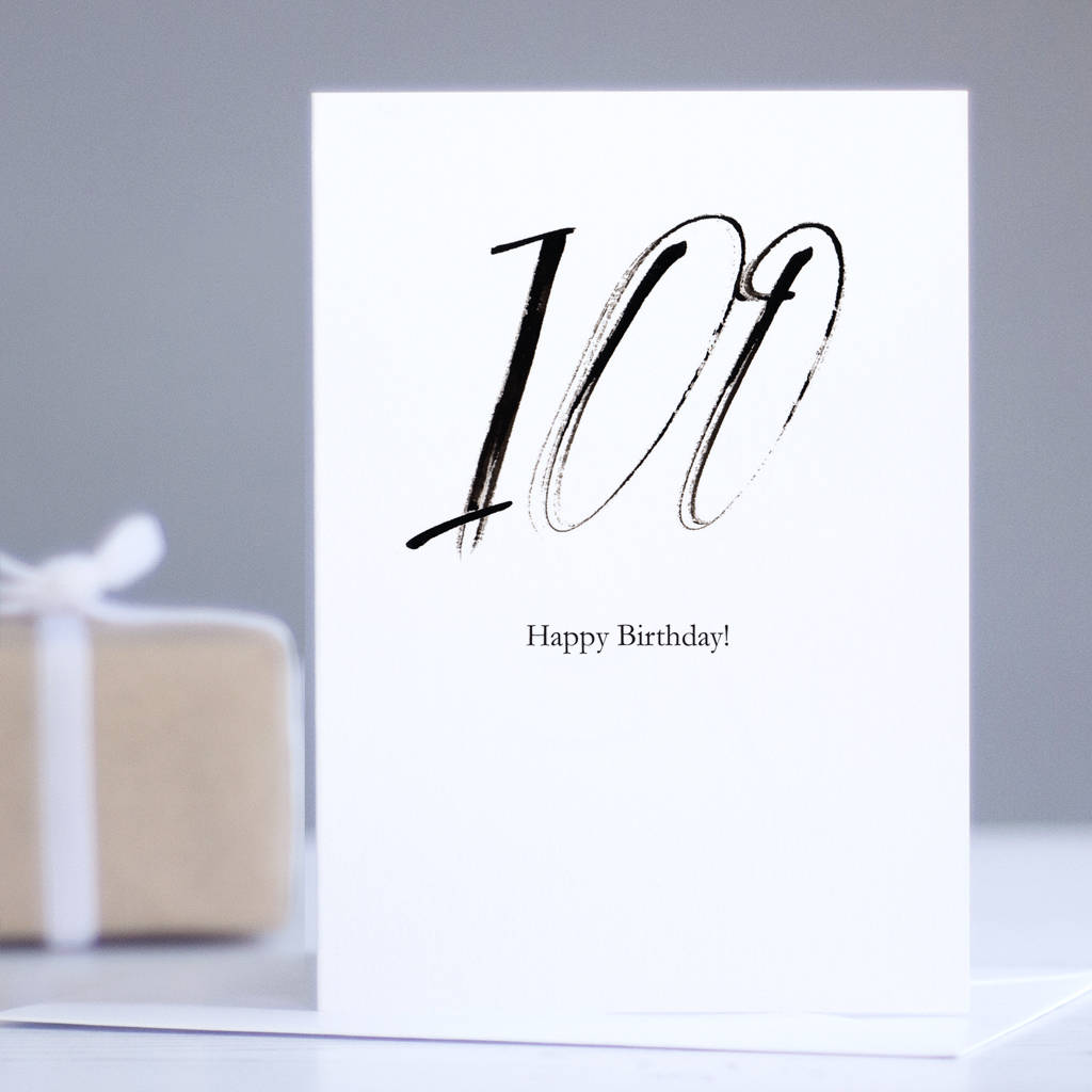100th Birthday Card 100 Happy