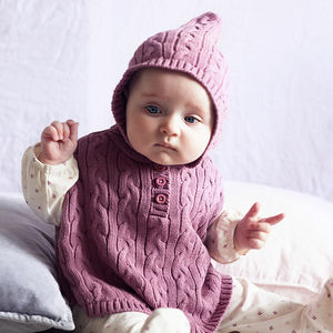 Baby Girl Knitted Cable Poncho - winter sale