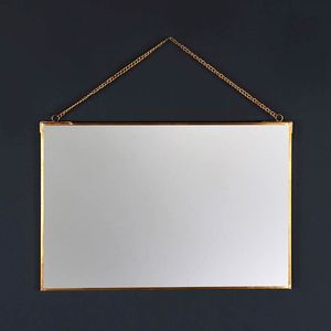 Rectangle Brass Wall Hanging Mirror - mirrors