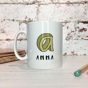 3D Cartoon Sketch Initial And Name China Mug - mugs