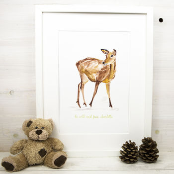 Personalised New Baby Gift Watercolour Deer Print
