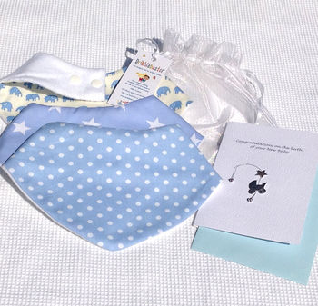 New Baby Gift Set Blue And Congratulations Card