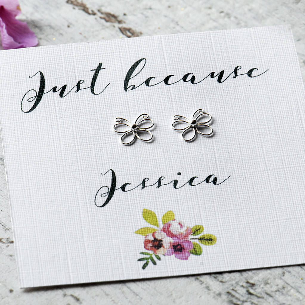 Personalised Just Because Butterfly Earrings