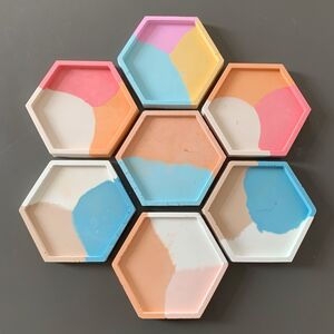 Rainbow Concrete Hexagon Trays