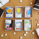 Set Of Six 'A Little Note To Say' Matchboxes