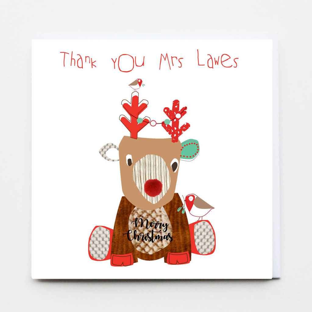 Merry Christmas Thank You Teacher Greeting Card By Buttongirl