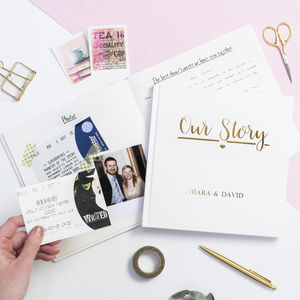 Our Story Personalised Memory Book For Couples - keepsakes