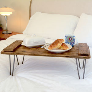 Wooden Breakfast Tray On Hairpin Legs - tableware
