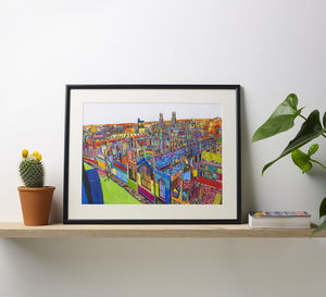 'All Souls' Oxford Original Multicoloured Illustration - maps & locations