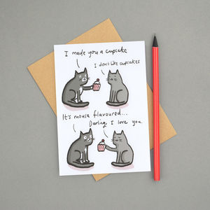 'Cats And Cupcakes' Valentines Card
