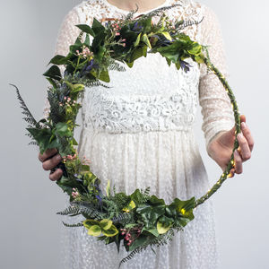 Handmade Artificial Floral Hoop Wreath
