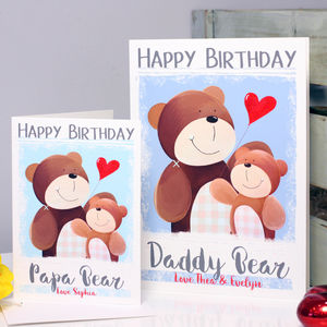 Personalised Daddy Papa Bear Birthday Card - birthday cards