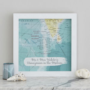 Personalised Treasured Location Map Print Wedding Gift - maps & locations